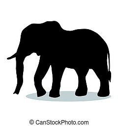 Elephant mammal black silhouette animal