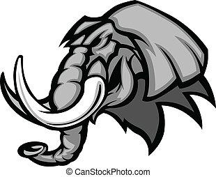 Elephant Mascot Head Graphic