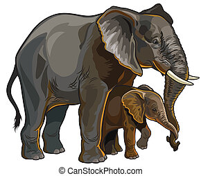elephant mother with baby - african elephant with baby side...