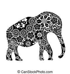 elephant., noir, ethnique