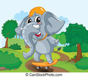 Elephant on a skateboard - Illustration of a skateboarding...