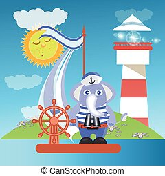 Elephant on the ship at sea with the lighthouse