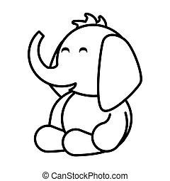 elephant on white background, baby toys
