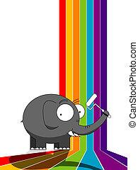 Elephant painting a rainbow