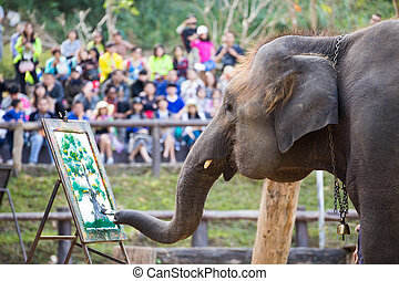Elephant painting on paper in elephant's show, Thailand