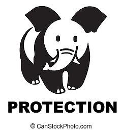 Elephant, panda, logo, mark, brand, mode, fashion, wwf, protection, caricature, initials, symbol,