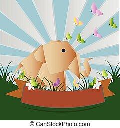 Elephant paper, vector eps 10 illustration
