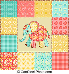 Elephant patchwork pattern