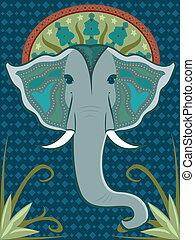 Elephant Patterned - Asian-inspired elephant head adorned ...