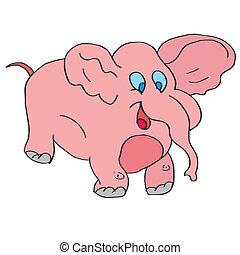 elephant pink baby animal cute design cartoon shower art wildlife vector illustration