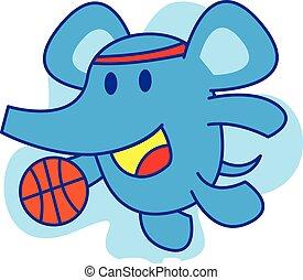 Elephant playing basketball vector