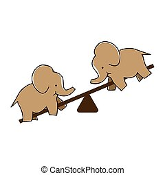 Elephant plays seesaw. Vector Illustration on white background