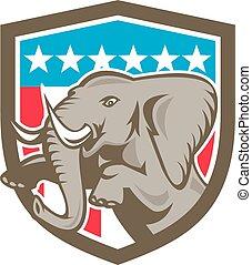 Elephant Prancing Stars Shield Retro - Illustration of an ...
