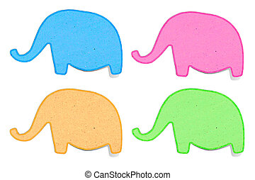 elephant recycled paper craft stick on white background