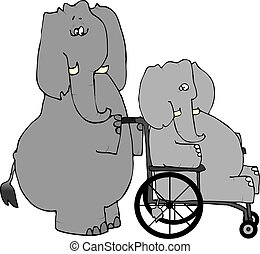 This illustration depicts an elephant pushing another elephant in a wheelchair.