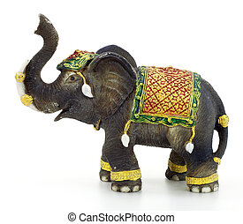 Elephant sculpture with white background