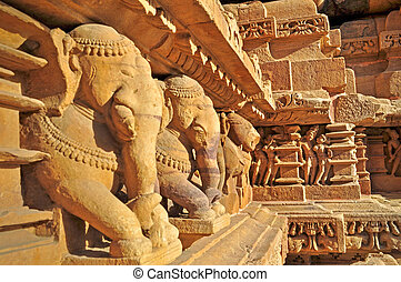 Elephant Sculptures at Vishvanatha Temple, Khajuraho, India...