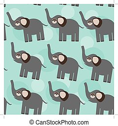 Elephant Seamless pattern with funny cute animal on a blue background