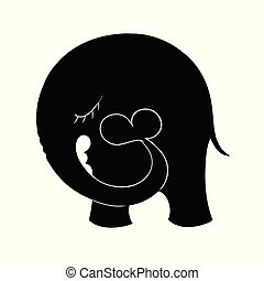 Elephant silhouette with heart.