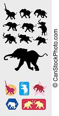Elephant Silhouettes Symbol