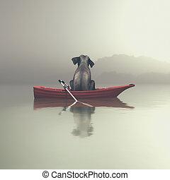 Elephant sitting in a boat by sea.