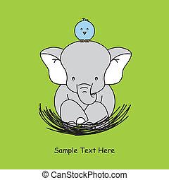 elephant sitting on the nest - Greeting card. elephant...