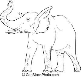 Elephant Sketching Vector Illustration