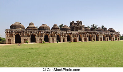 Elephant stables at the Cacred Center of Vijayanagara at Hampi, a city located in Karnataka, South West India