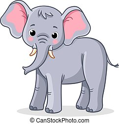 Elephant stands on a white background. Vector illustration ...