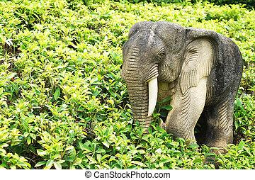 elephant statue in garden