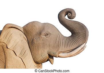 Elephant statue, Isolated on white background