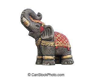 Elephant statue isolated on white b