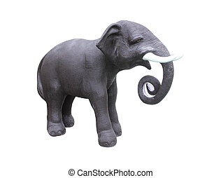 elephant statue isolated on white background ,with clipping path