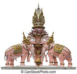 elephant statue near Wat Phra Kaew isolated
