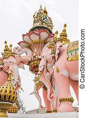 elephant statue near Wat Phra Kaew on white cloud