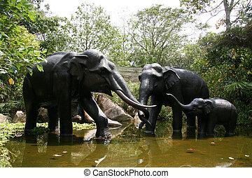 Elephant Statues - Singapore Zoo, Singapore
