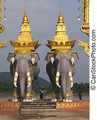 Elephant statues in northern Thailand