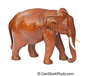 elephant statuette - Wooden carved elephant isolated on ...