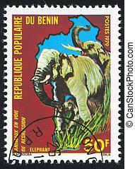 elephant - BENIN - CIRCA 1979: stamp printed by Benin, shows...