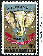 elephant - GUINEA - CIRCA 1972: stamp printed by Guinea,...