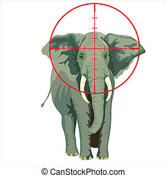 elephant targeted by a hunter