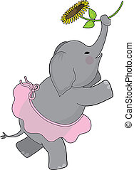 Elephant dancing in a tutu and holding a sunflower in her trunk