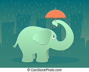Elephant Umbrella - Illustration of an elephant standing in...
