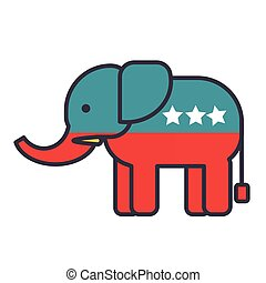 Elephant, usa, republican party flat line illustration, concept vector isolated icon