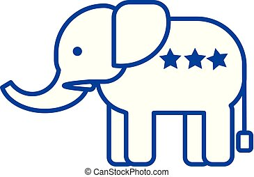 Elephant usa,republican party line icon concept. Elephant usa,republican party flat  vector symbol, sign, outline illustration.