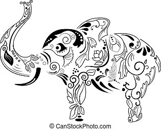 Vector picture with black silhouette of elephant