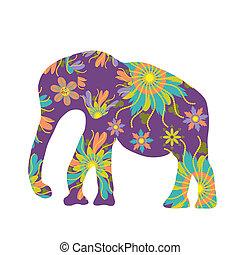 Elephant vector silhouette, cute template
