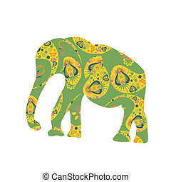 Elephant vector silhouette for design fabrics, T-shirts, dishes