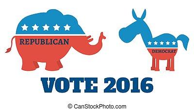 Elephant Vs Donkey With Text - Political Elephant Republican...