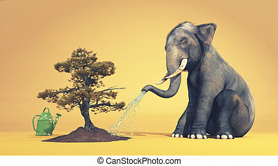 Elephant watering a tree with trunk. This is a 3d render...